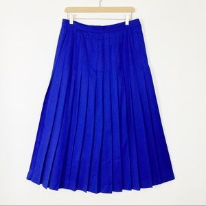 Vintage pure wool pleated midi skirt a-line blue